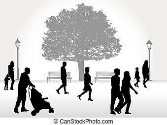 歩くこと。, 群集, 人々