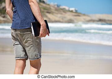 歩くこと, 間, ノート, 保有物, 浜, 人