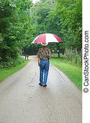 歩くこと, 雨