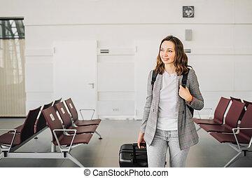 歩くこと, baggage., 彼女, 肖像画, 女の子, 空港