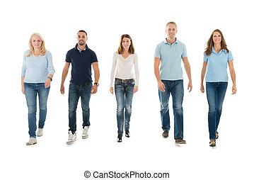 歩くこと, casuals, 人々, に対して, 背景, 白