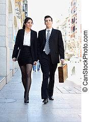 歩くこと, working., ビジネス 人々, 恋人, 通り。, 肖像画, atractive