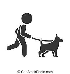 歩く犬, バックグラウンド。, ベクトル, 白, アイコン, 人