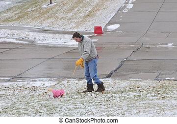 歩く犬, 冬