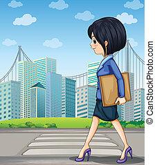 歩行者, 歩くこと, 女, 通り, 車線