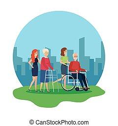 歩行者, 車椅子, 女, 老人