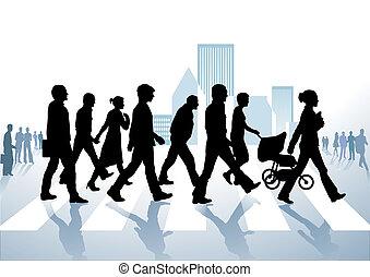 歩行者, 都市で