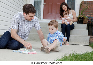 歩道, 父, 遊び, 息子