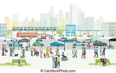 歩道, 都市交通, 道, シルエット, 人々, illustration.eps