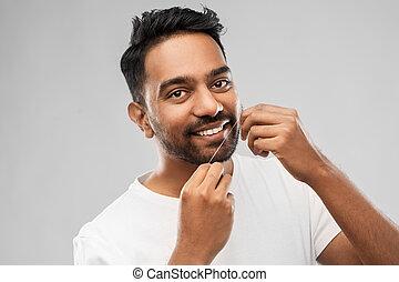 歯のフロス, indian, 歯をきれいにする, 人