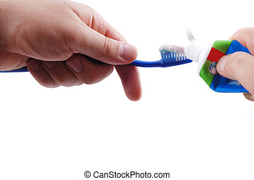 歯みがき, ブラシ, 手