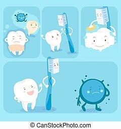 歯ブラシ, かわいい, 漫画, 歯