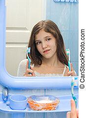 歯ブラシ, 女の子, 2, 決定しなさい, ∥間に∥
