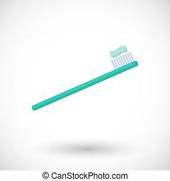 歯ブラシ, 平ら, ベクトル, アイコン