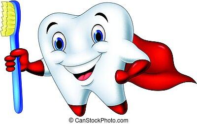 歯ブラシ, superhero, 漫画, 歯