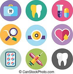 歯医者の, セット, ロゴ, 医院, アイコン