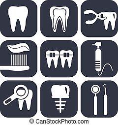 歯医者の, セット, 灰色, アイコン