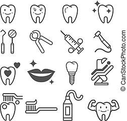 歯医者の, ベクトル, illustration., icons., 歯