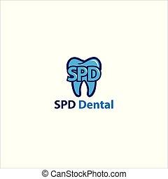 歯医者の, ロゴ, 名前, 歯, spd