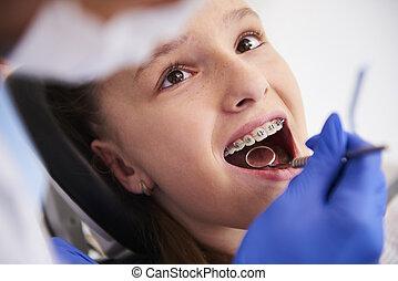 歯医者の, 女の子, 検査, 支柱, の間, ルーチン