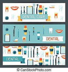 歯医者の, icons., 装置, デザイン, 旗, 医学