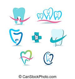 歯医者の, icons., stomatology.