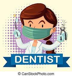 歯科医, 道具, 女性, 歯