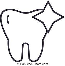 歯, ストローク, 輝き, 歯, イラスト, ベクトル, editable, 印, 線, きれいにされる, 背景, アイコン