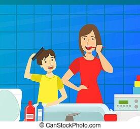 歯, 教授, 子供, 情事, 息子, きれいにしなさい, ベクトル, 毎日, 家, イラスト, 生活, お母さん, 母, 彼女