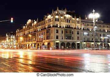 歴史建造物, 中に, ∥, 中心, の, モスクワ, (metropol, hotel), 夜で, ロシア
