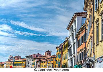 歴史的な建物, 中に, pisa, lungarno