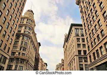 歴史的な建物, 都市で, の, ニューヨーク