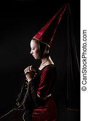 歴史的, スタイル, 肖像画, 定型, 女, 中世, 衣装