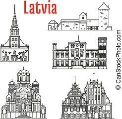 歴史的, ランドマーク, sightseeings, ラトビア
