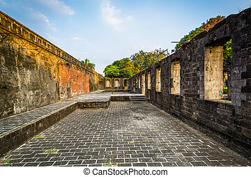 歴史的, 壁, の, 城砦, サンティアゴ, 中に, intramuros, マニラ, ∥, フィリピン。