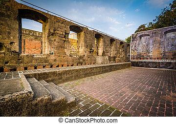 ∥, 歴史的, 壁, の, 城砦, サンティアゴ, 中に, intramuros, マニラ, ∥, フィリピン。