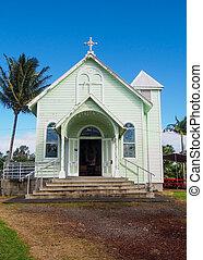 歴史的, 星, の, ∥, 海, ペイントされた, 教会, 中に, hilo, ハワイ