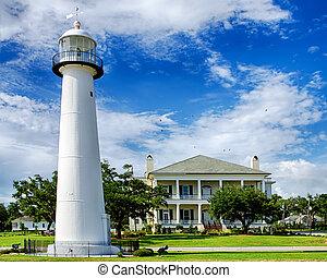 歴史的, 灯台, 中に, biloxi, ミリセカンド