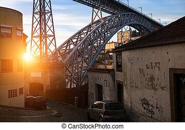 歴史的, 通り, portugal., porto, 中心