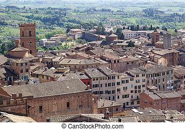 歴史的, 都市, の, siena, トスカーナ, イタリア