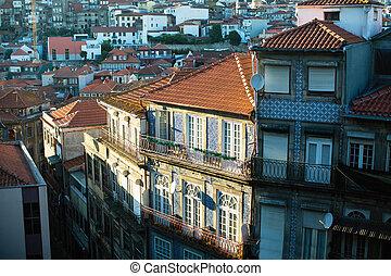 歴史的, portugal., 家, 都市, porto