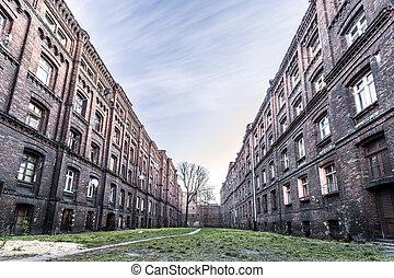 歴史的, postindustrial, ブロック, の, 平ら, 中に, lodz, ポーランド