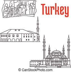 歴史的, sightseeings, トルコ, 建築