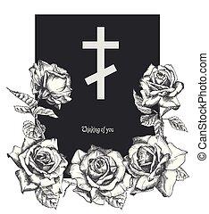 死亡記事, スタイル, 概念, 背景, カード, 色, 型, 葬式, 現代, 装飾, 交差点, 隔離された, 招待, ばら, デザイン, テンプレート, 引かれる, 黒, 白, 手, 刻まれる
