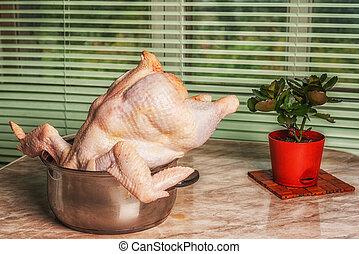 死体, 巨大, 大きさ, pot., 花, テーブル。, 台所, 鶏