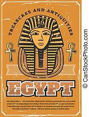 死, エジプト人, エジプト, 旅行, ファラオ, mask., 古代