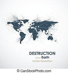 死, グランジ, illustration., 抽象的, 背中, ベクトル, 地球