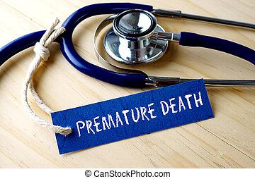 死, 単語, 木製である, 医学, 早期, ラベル, バックグラウンド。, 書かれた, タグ, 聴診器, 概念的な イメージ