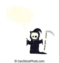 死, 大鎌, スピーチ, レトロ, 泡, 漫画