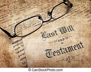 死, 新約聖書, 古い, 計画, 最後, 寄付, 意志, 離れて, 財産, 特性